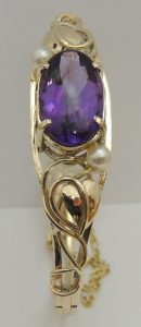 Amethyst Gold Bangle - Joanna Thomson Jewellery, Peebles, Scotland