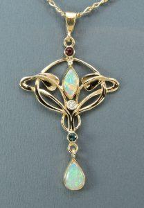 Art Nouveau Opal Pendant - Joanna Thomson Jewellery, Peebles, Scotland