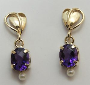 Harlequin Amethyst Earrings - Joanna Thomson Jewellery, Peebles, Scotland