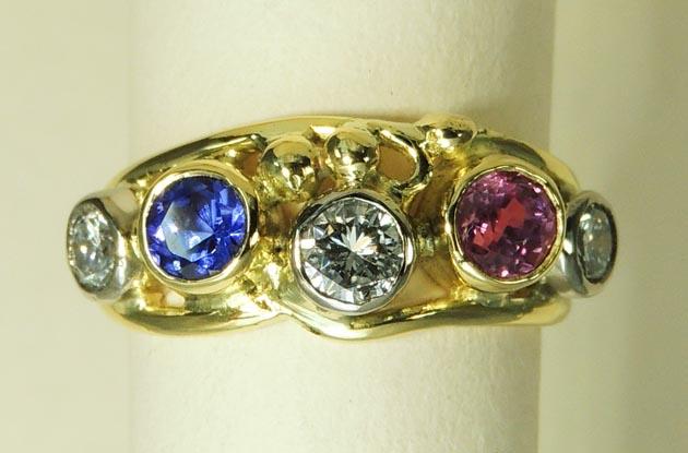 Tanzanite Pink Sapphire Ring - Joanna Thomson Jewellery, Peebles, Scotland
